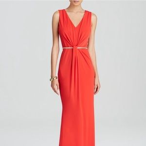 Laundry by Shelli Segal Red Ruched-Front Gown